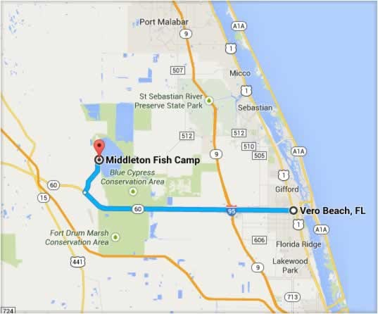Directions Middletons Fish Camp - Vero beach florida map